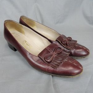 Salvatore Ferragamo Brown Leather Fringe Size 7 AA